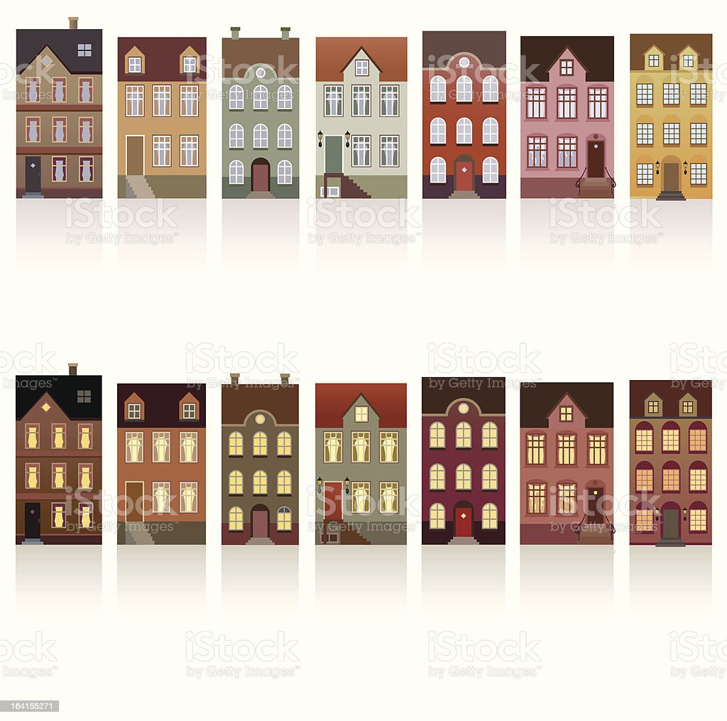 Houses - day and night vector art illustration