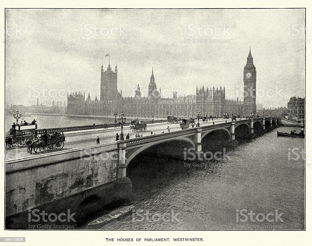 Houses of Parliament and Westminster Bridge, London, 1897 vector art illustration