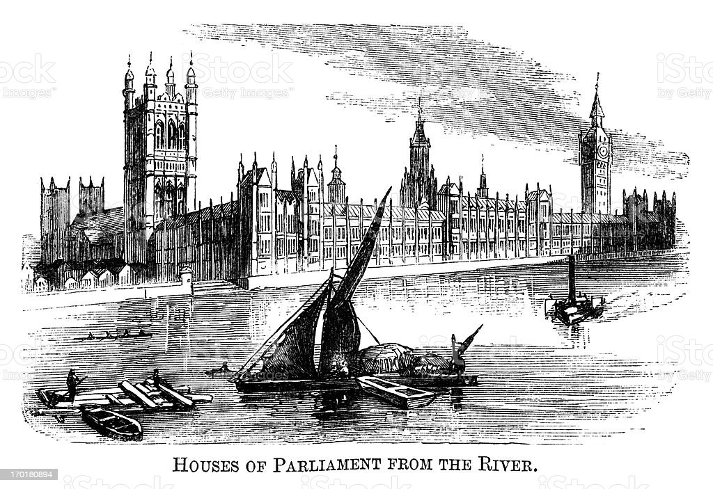 Houses of Parliament from the River Thames (1871 engraving) vector art illustration