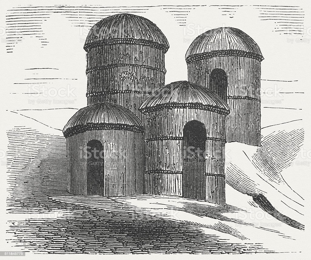 Houses of the ancient Germanic people, wood engraving, published 1864 vector art illustration