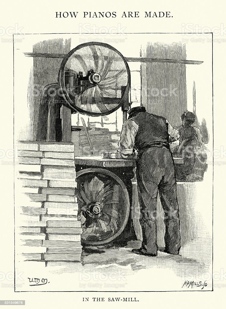 How pianos are made. In the Saw mill, 1892 vector art illustration