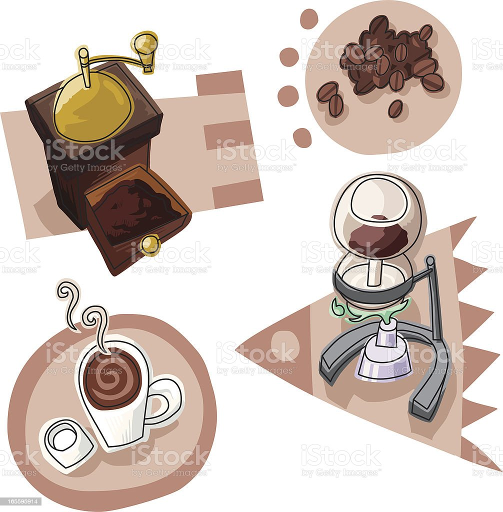 How to brew a siphon coffee royalty-free stock vector art