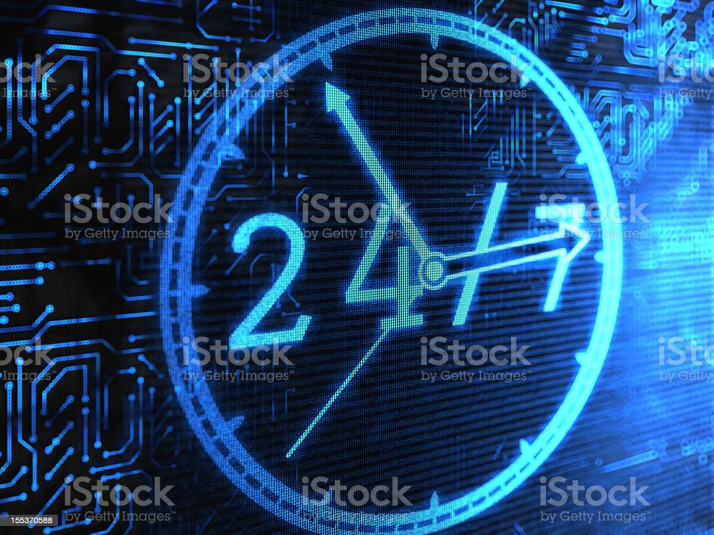 24 Hrs vector art illustration