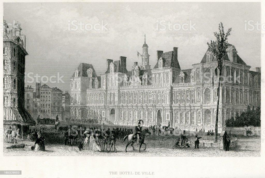 Hôtel de Ville, Paris royalty-free stock vector art