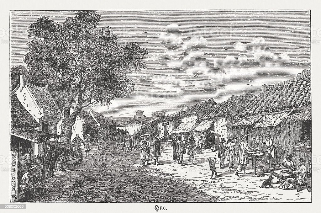 Huế - city in Vietnam, wood engraving, published in 1882 vector art illustration
