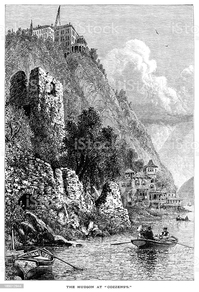 Hudson River at Cozzens's (Victorian engraving) vector art illustration