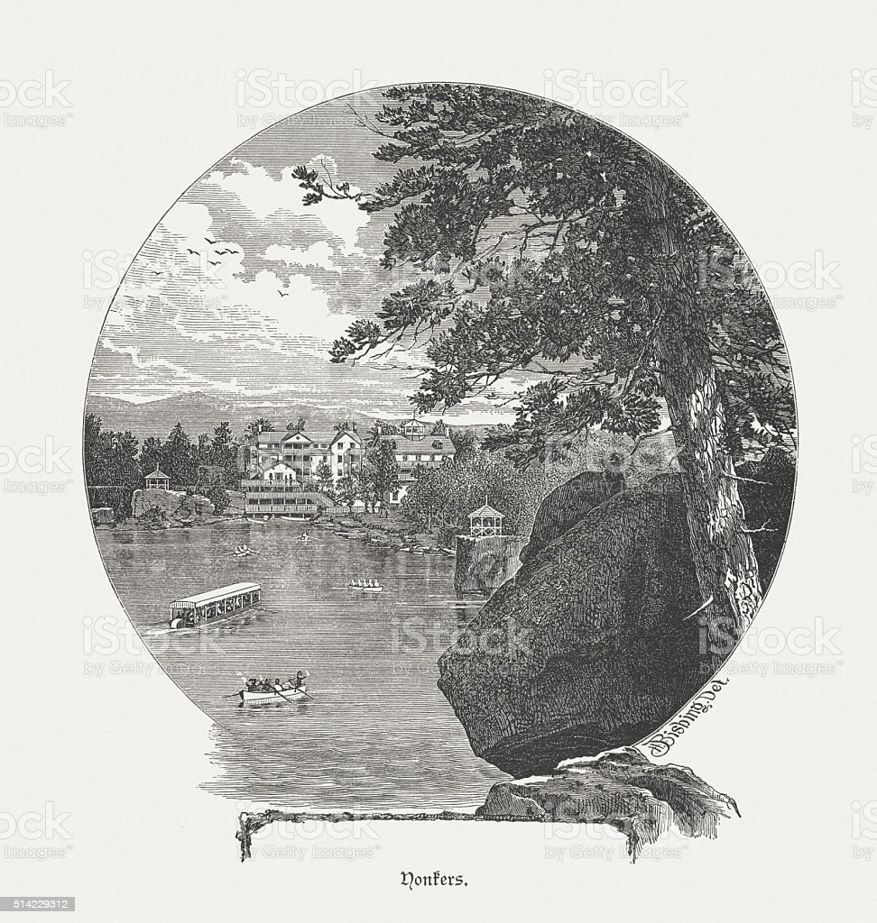 Hudson River near Yonkers, USA, wood engraving, published in 1880 vector art illustration