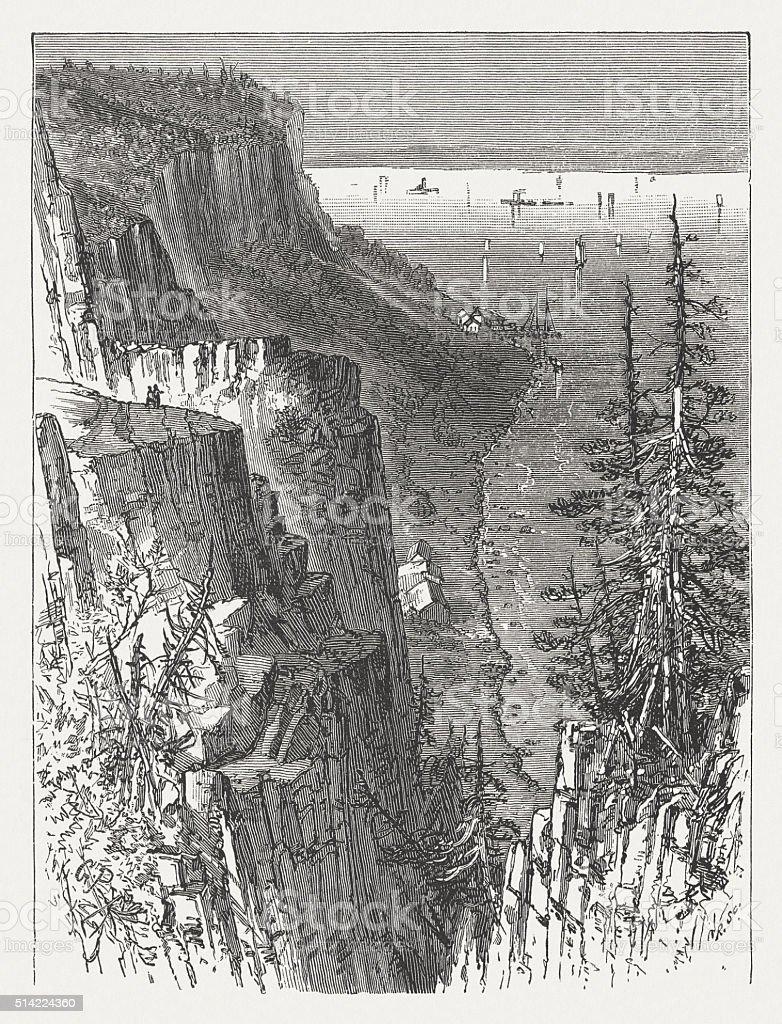 Hudson River Palisades, wood engraving, published in 1880 vector art illustration