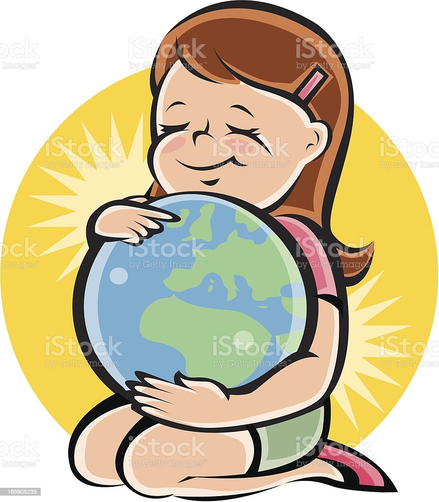 Hug the World vector art illustration