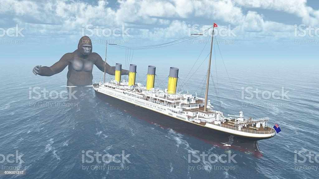 Huge gorilla and ocean liner vector art illustration
