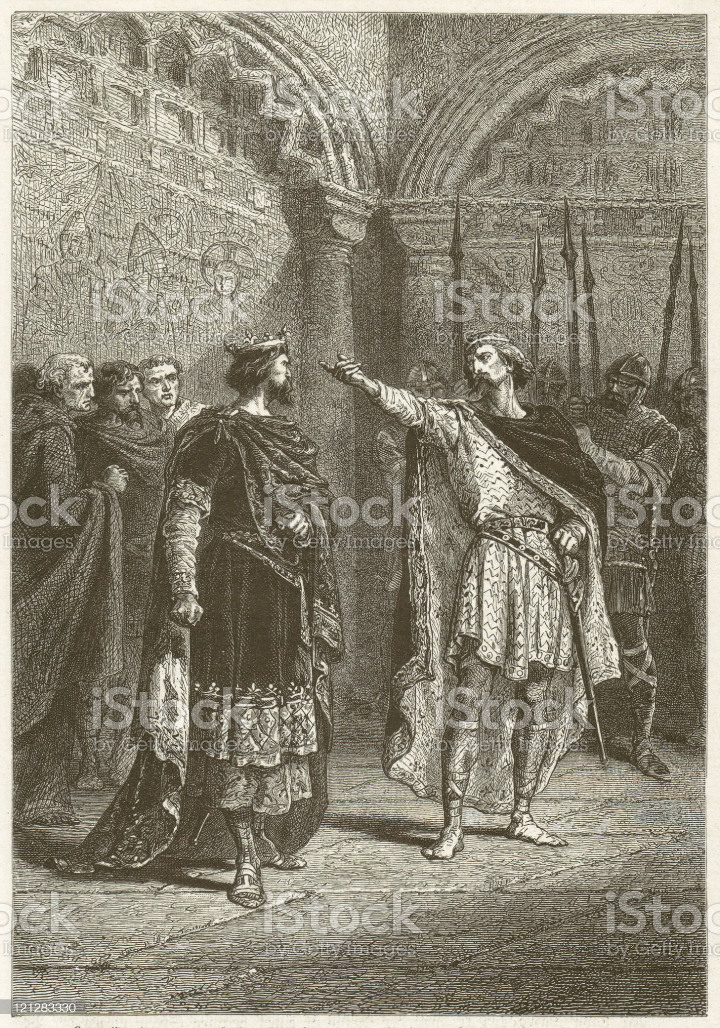 Hugh Capet and Adalbert of Perigord (987), published in 1881 royalty-free stock vector art