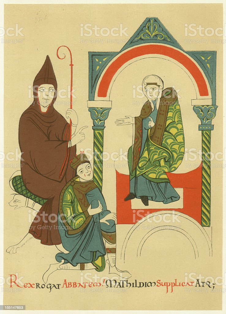 Hugh of Cluny and Matilda of Tuscany, lithograph, published 1880 vector art illustration