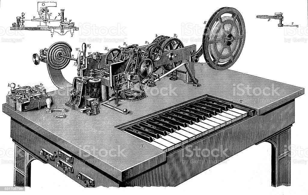Hughes type printer vector art illustration