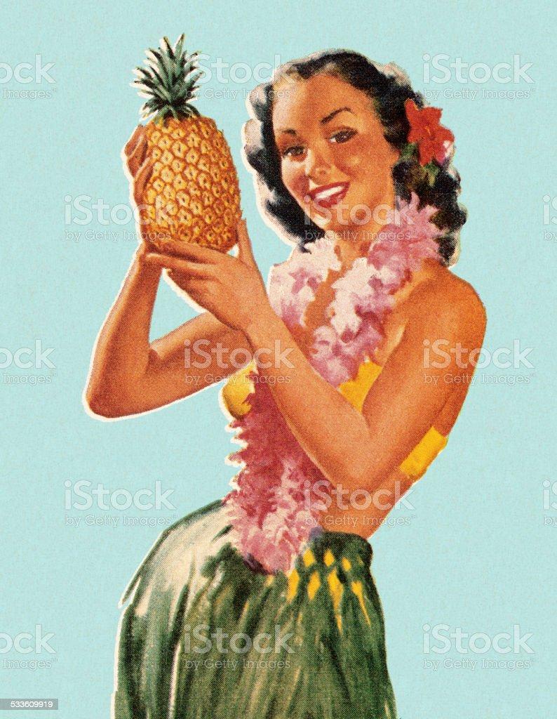 Hula Girl Holding Pineapple vector art illustration