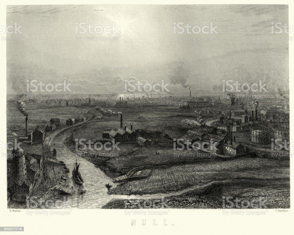 Hull, Yorkshire, 19th Century vector art illustration