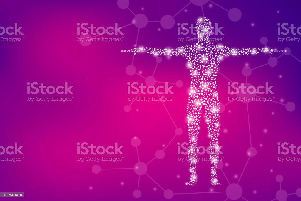 Human body with molecules DNA. Medicine, science and technology concept. Illustration vector art illustration