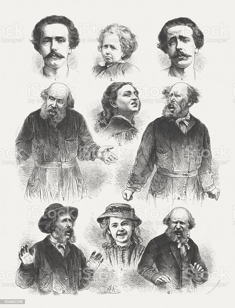 Human emotions (after Charles Darwin), wood engraving, published in 1873 vector art illustration