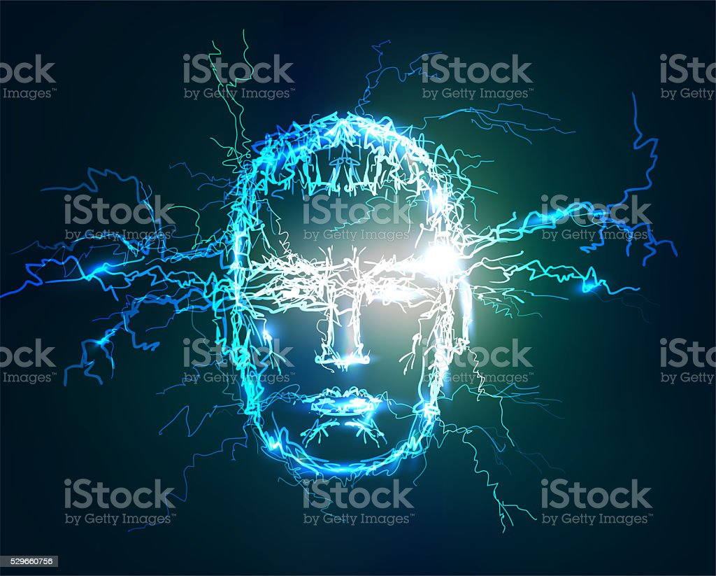 Human face, Electric lights effect background. stock photo