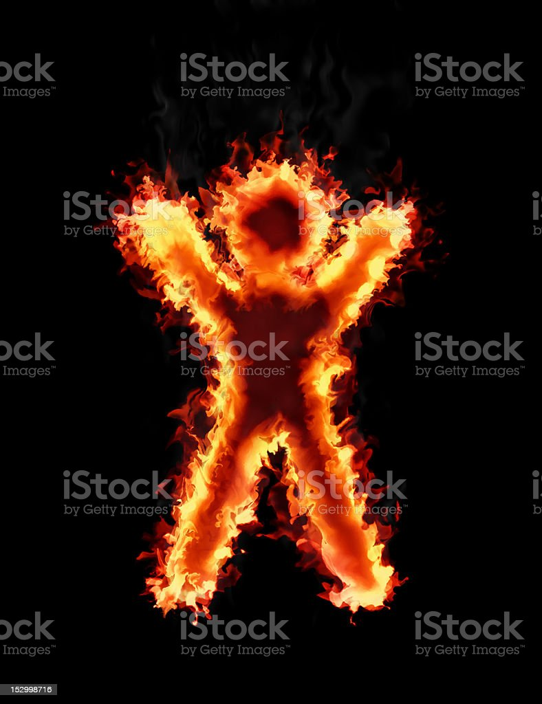 Human figure burn in fire vector art illustration