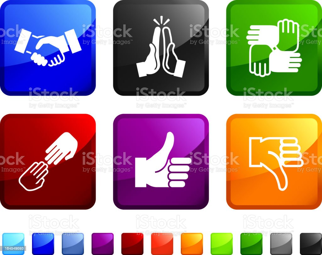 Human hands in action vector icon set royalty-free stock vector art
