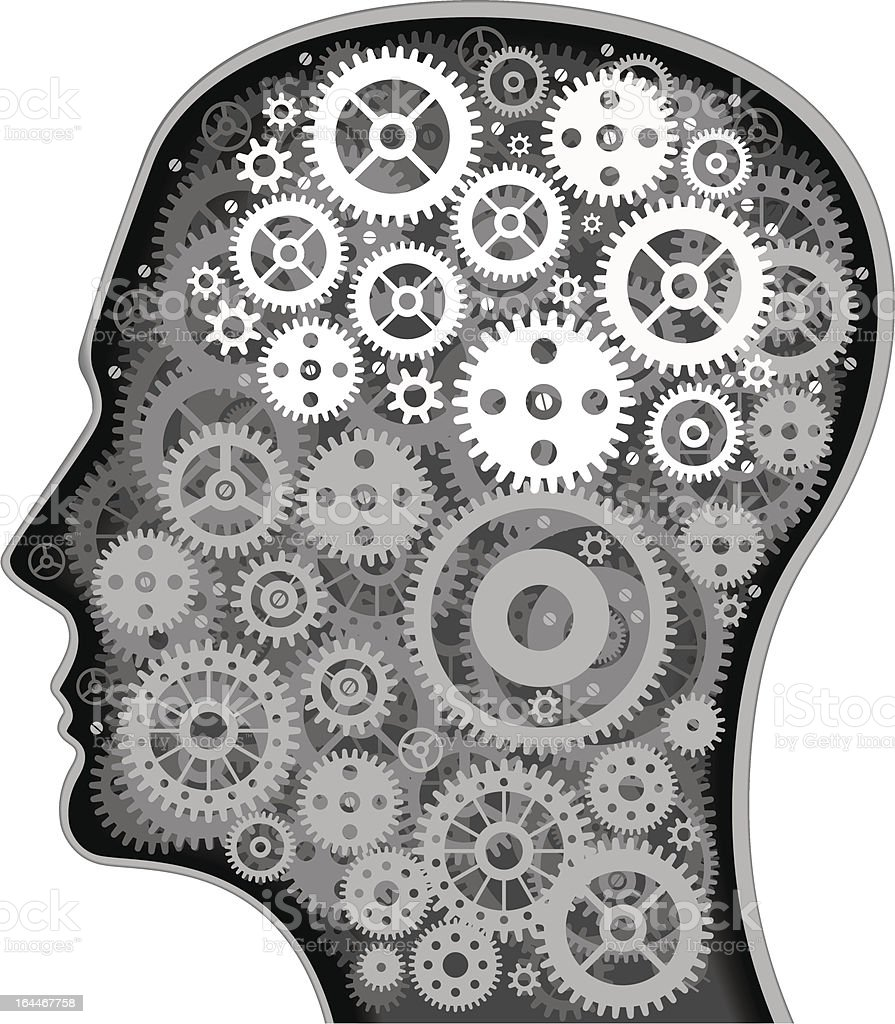 Human head with cogs royalty-free stock vector art