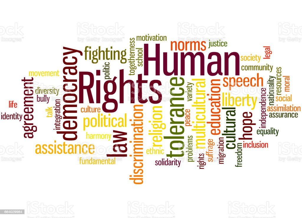 Human Rights, word cloud concept 7 vector art illustration