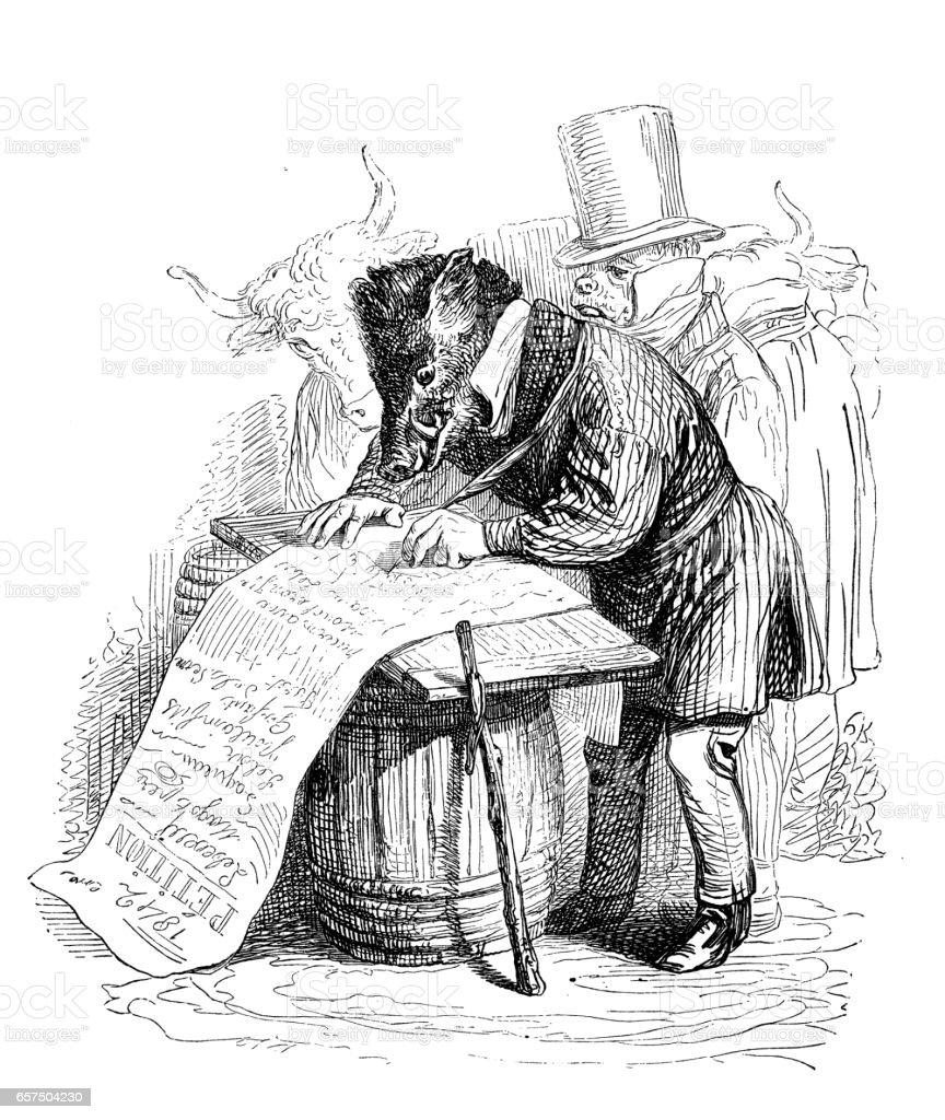Humanized animals illustrations: Boar signing petition vector art illustration