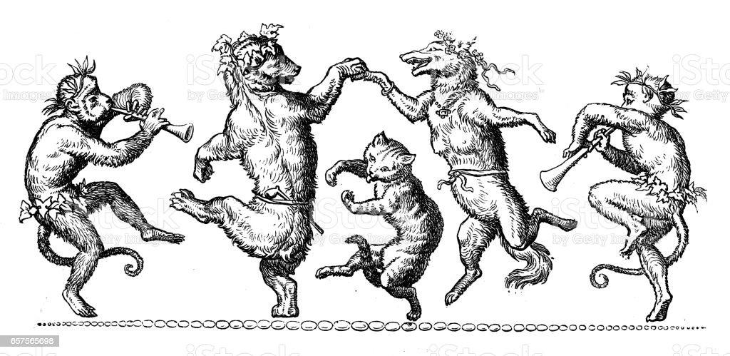 Humanized animals illustrations: Decoration vector art illustration
