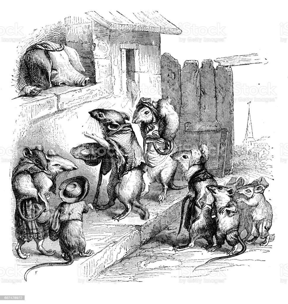 Humanized animals illustrations: Mice and pig vector art illustration