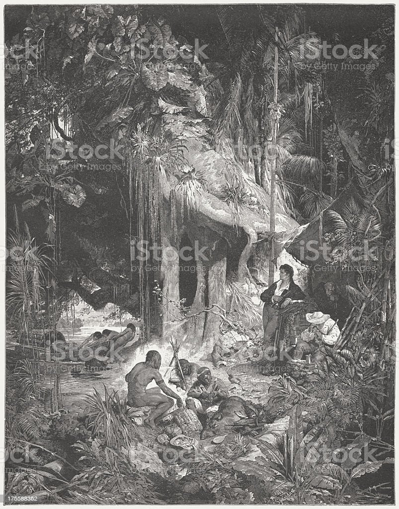 Humboldt at the Orinoco in 1800, wood engraving, published 1882 vector art illustration