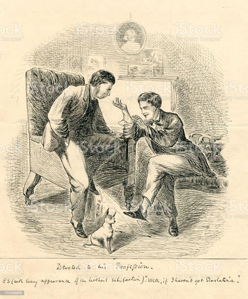 Humour hypochondriac discussing scarlatina 19th century vector art illustration