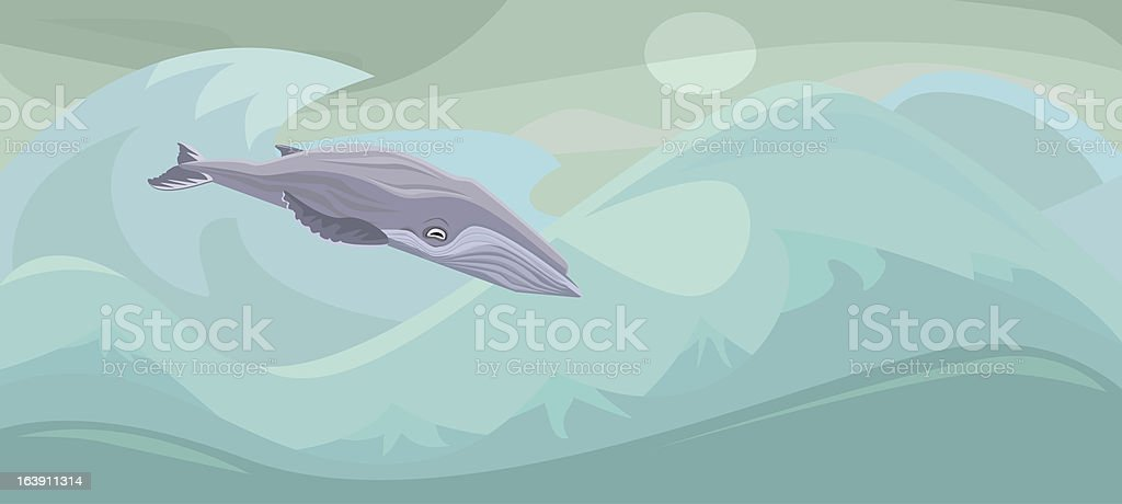 Humpback Whale in the Ocean vector art illustration