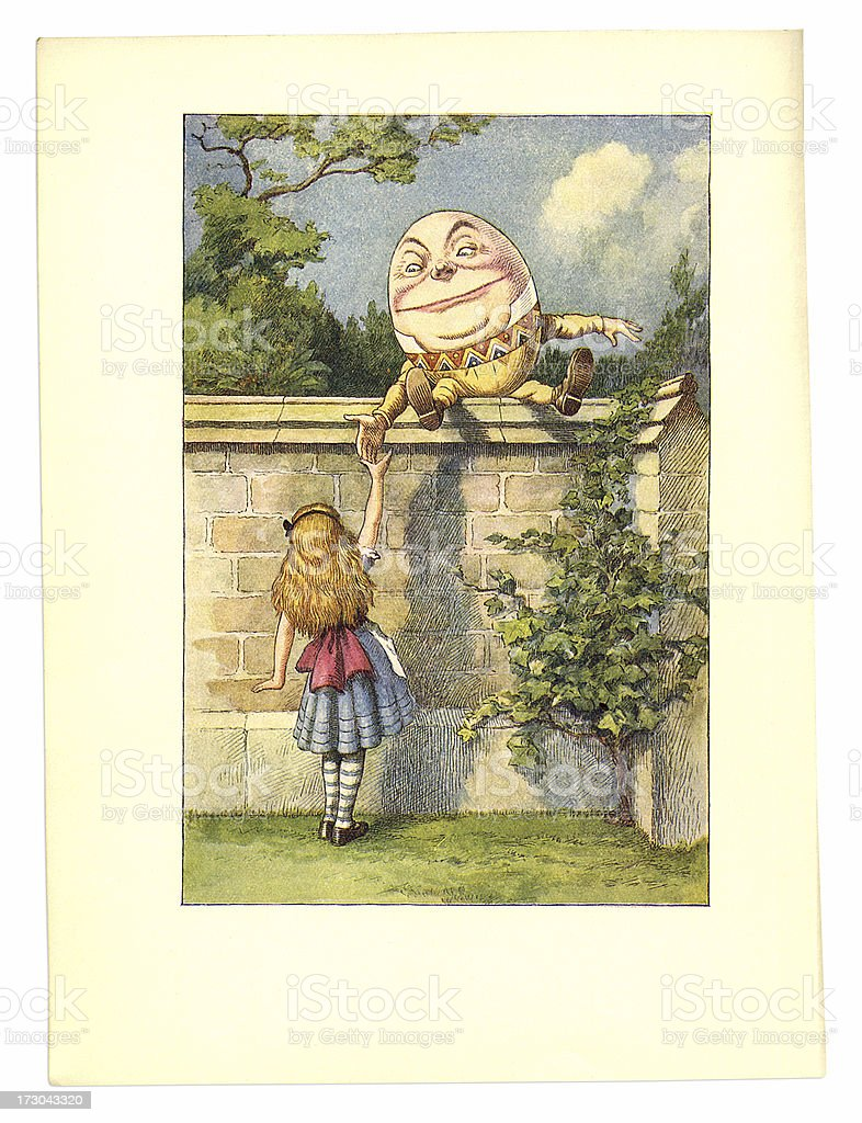 Humpty Dumpty on a wall illustration, (Alice's Adventures in Wonderland) vector art illustration