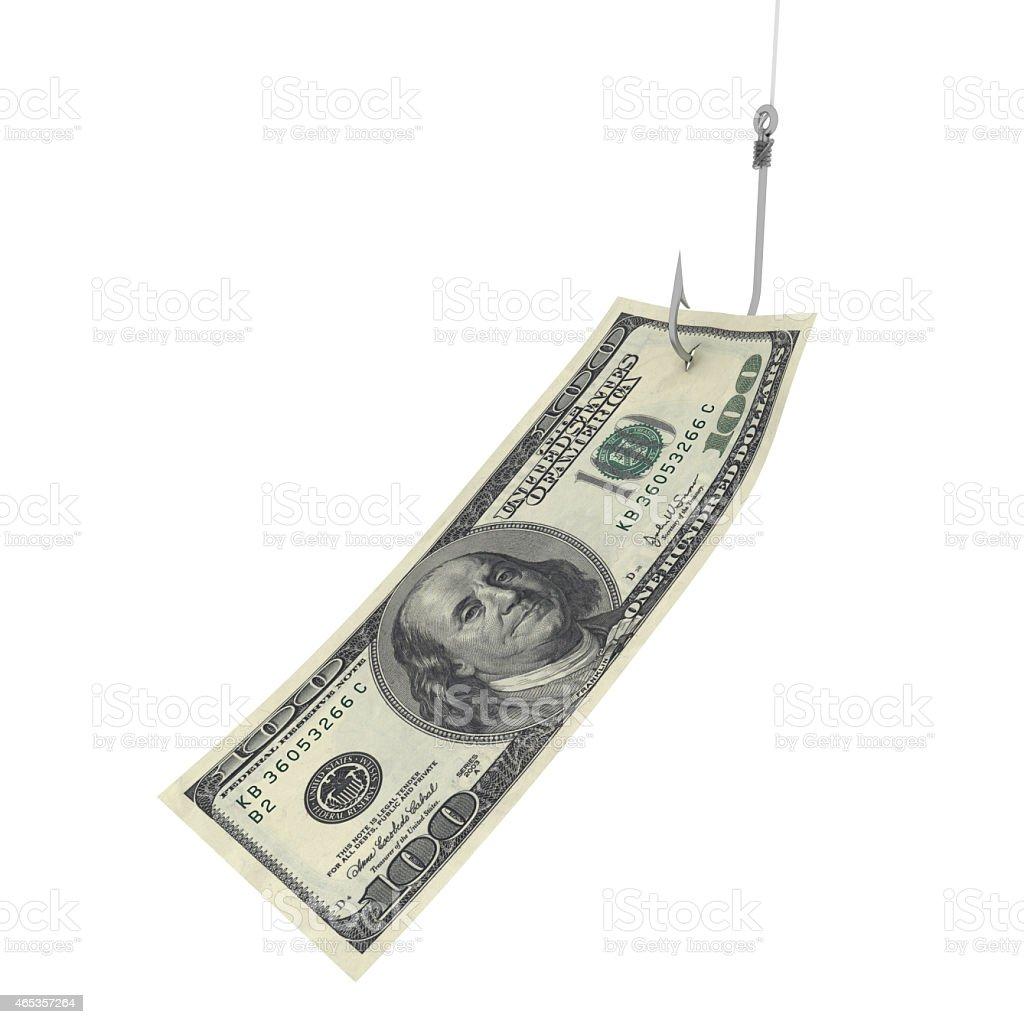 Hundred Dollar Bill on Fishing Hook vector art illustration