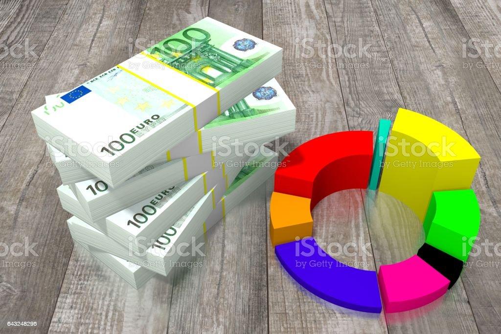 Hundred euro bills vector art illustration