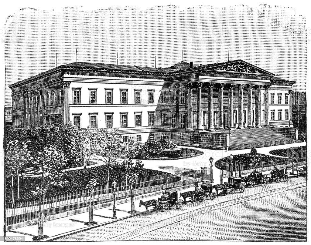 Hungarian National Museum vector art illustration