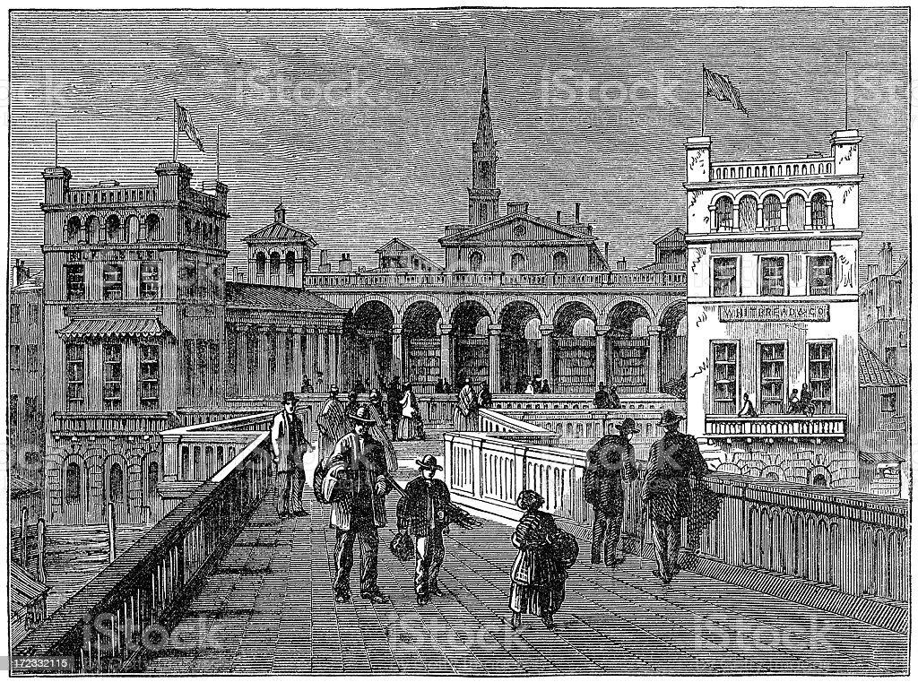 Hungerford Market from the bridge, London, 1850 (illustration) royalty-free stock vector art