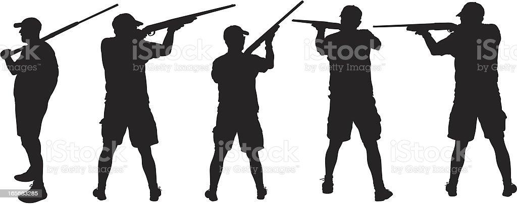Hunter aiming at target vector art illustration