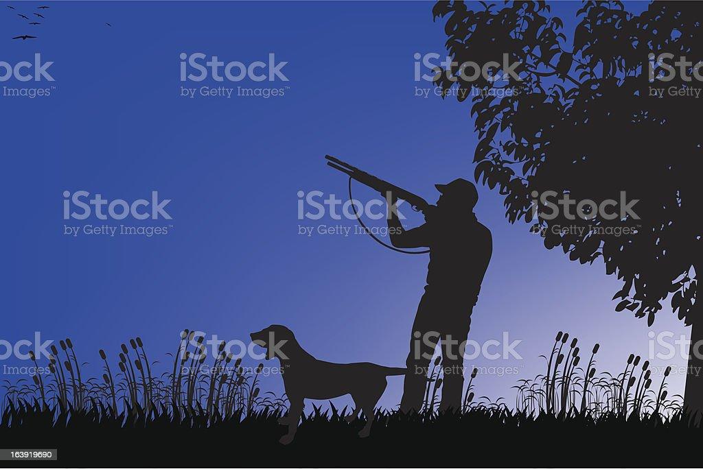 hunter vector art illustration