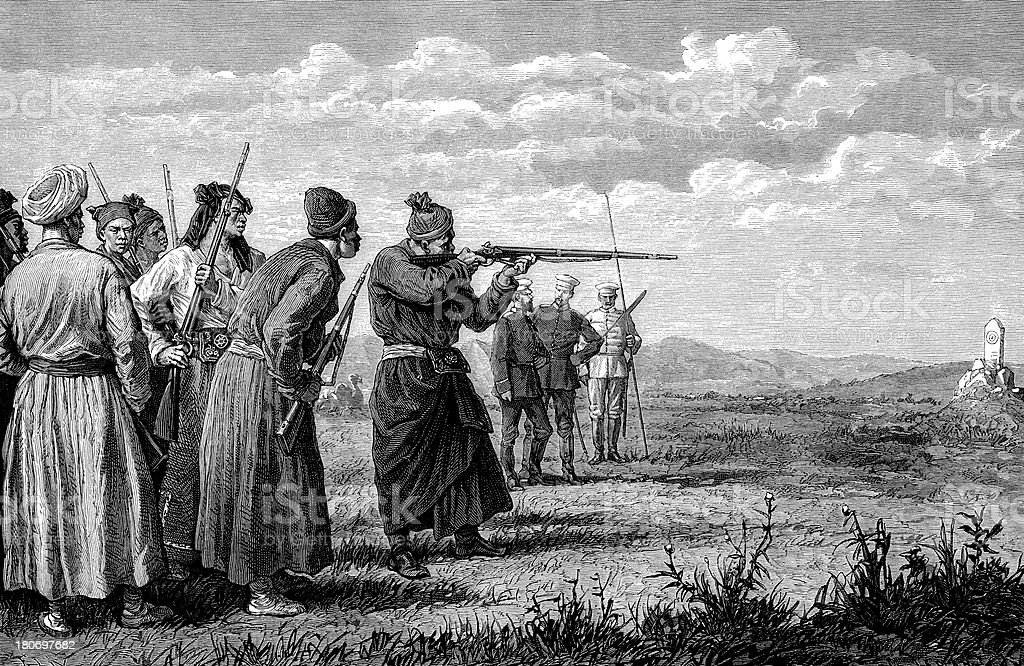 Hunters target shooting in Mongolia royalty-free stock vector art