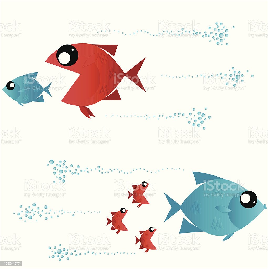 Hunting fishes royalty-free stock vector art