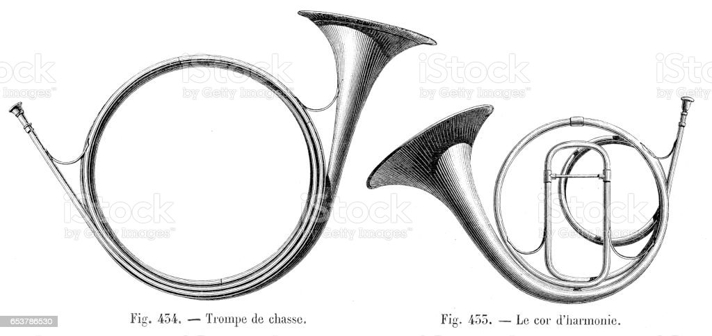 Hunting trunk and french horn engraving 1881 vector art illustration