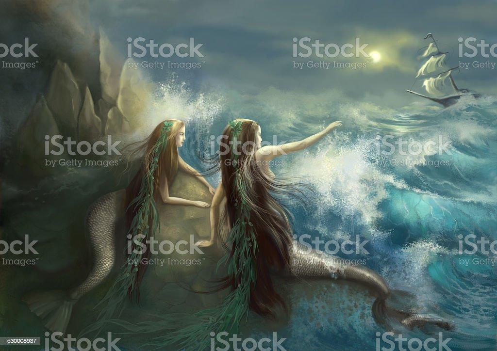Hunting two mermaids vector art illustration