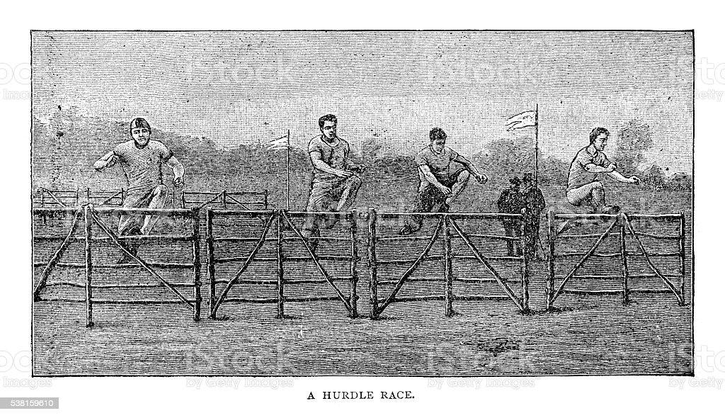 Hurdle Race vector art illustration