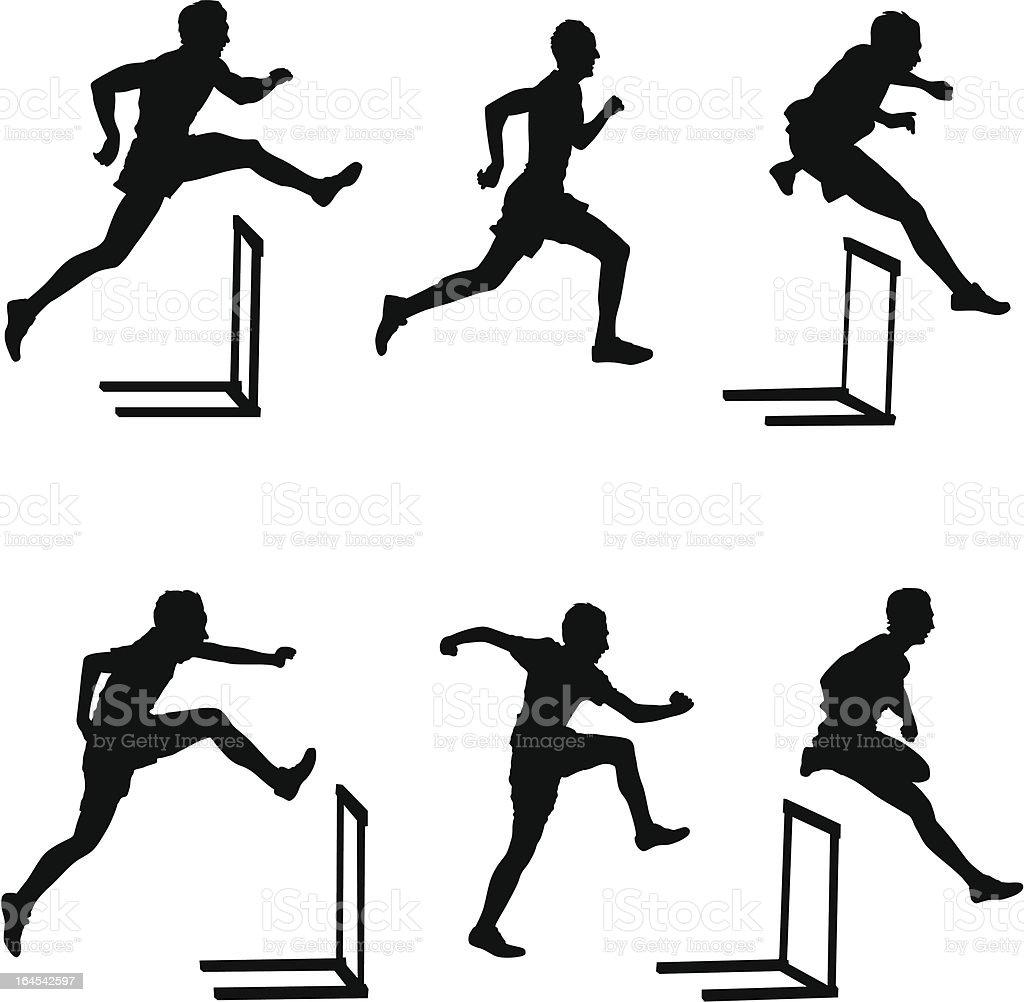 Hurdlers vector art illustration