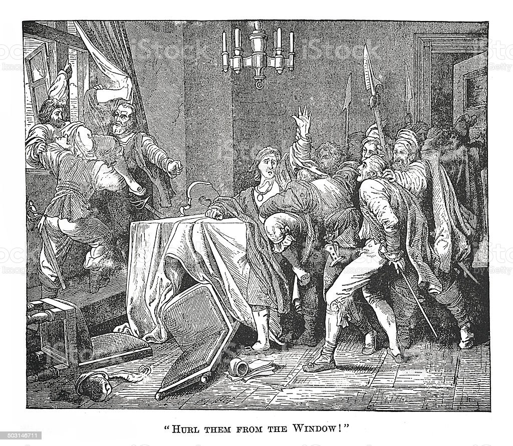 'Hurl them from the Window!' (antique engraving) vector art illustration