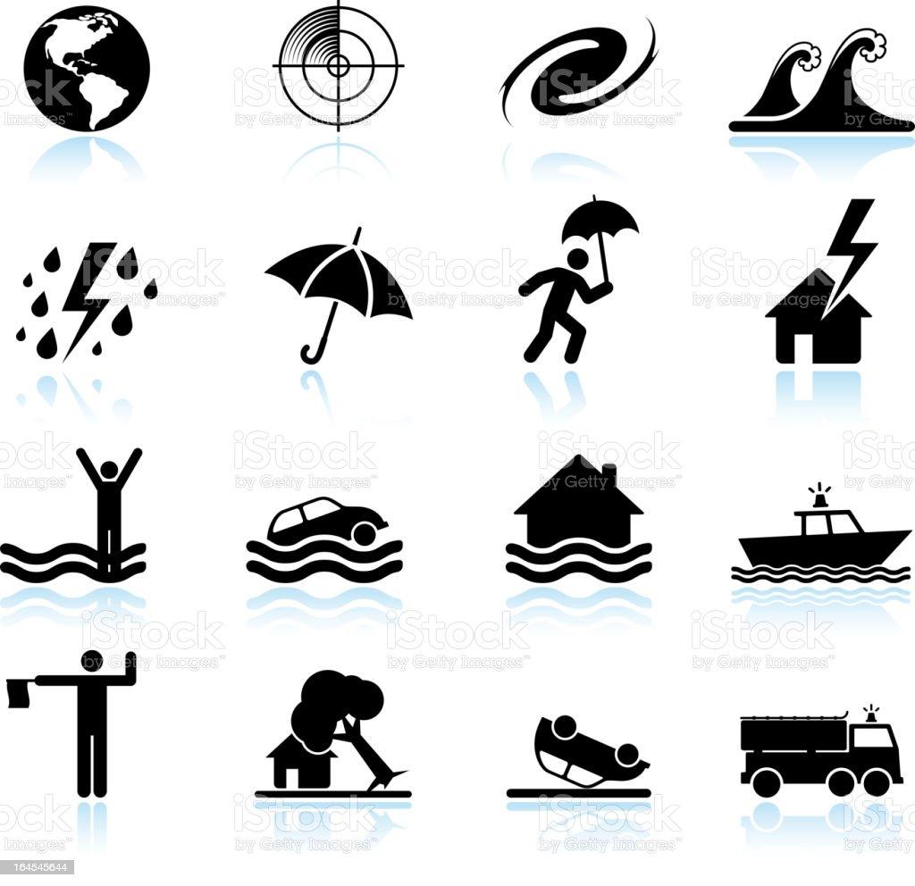 Hurricane and tropical storm black & white vector icon set vector art illustration