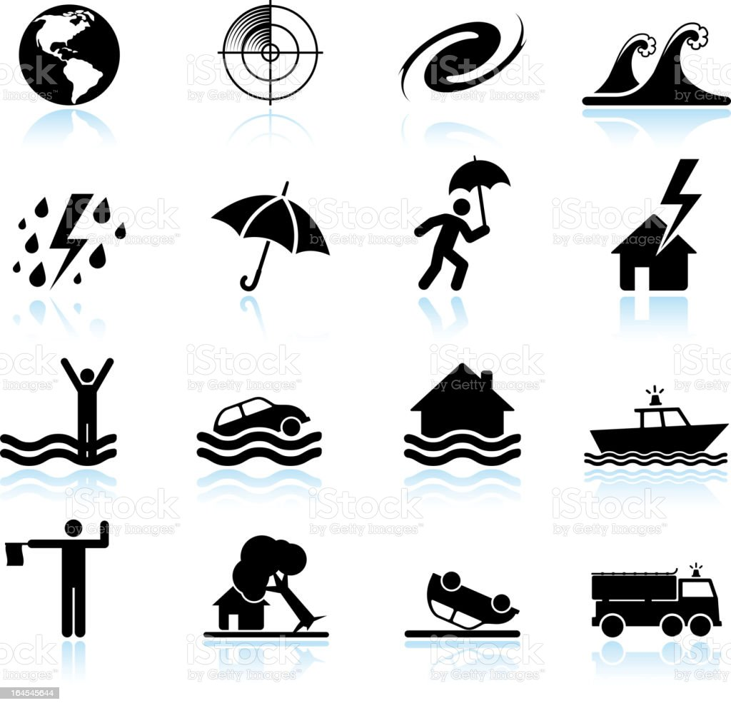 Hurricane and tropical storm black & white vector icon set vector art illustration