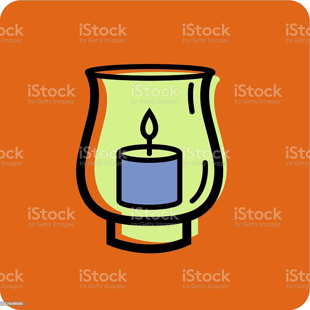 hurricane candle holder on an orange background vector art illustration