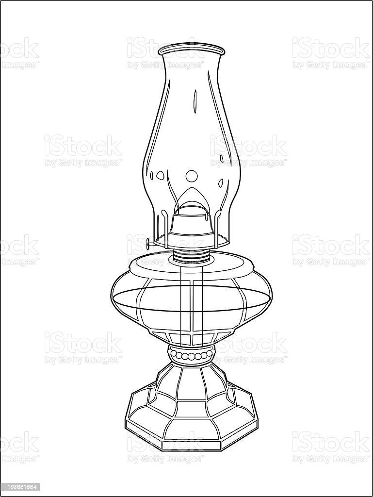 Hurricane lamp line art vector art illustration